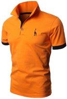 Bestgift Men's Casual Slim Short Sleeve Polo T-shirt L