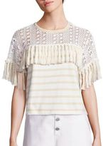 See by Chloe Striped Fringed Jersey Top