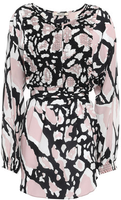 Roberto Cavalli Shirred Printed Silk Crepe De Chine Blouse