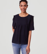 LOFT Daisy Embroidered Pintuck Top