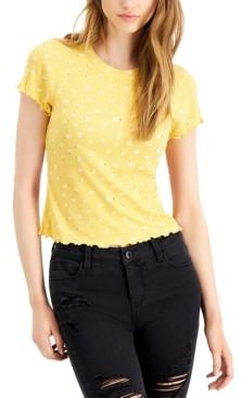 Self Esteem Juniors' Floral-Print Lettuce-Edge T-Shirt