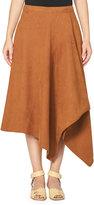 Stella McCartney Asymmetric Faux-Suede Midi Skirt, Brown
