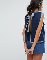 J.o.a. Open Back Denim Top With Raw Hems Co-Ord