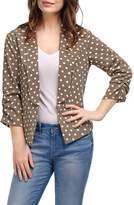 Allegra K Polka Dots Shawl Collar 3/4 Sleeves Shirred Cuffs Blazer L