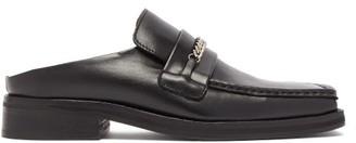 Martine Rose Curb-chain Square-toe Leather Mules - Black