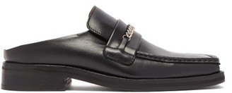Martine Rose Curb-chain Square-toe Leather Mules - Womens - Black