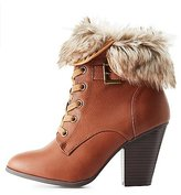 Charlotte Russe Faux Fur-Cuffed Lace-Up Booties