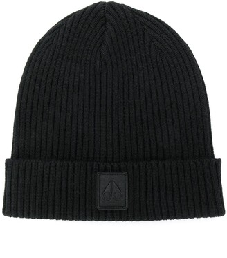 Moose Knuckles ribbed beanie hat