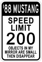 1988 88 FORD MUSTANG Aluminum Speed Limit Sign - 10 x 14 Inches