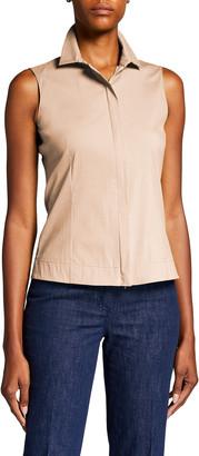 Akris Sleeveless Zip-Front Cotton Shirt