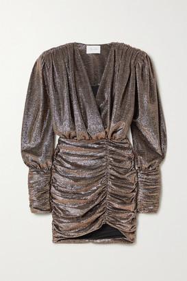 Redemption Wrap-effect Ruched Lame Mini Dress - Bronze