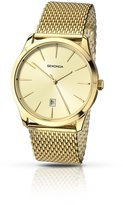Sekonda Men's Quartz Watch with Beige Dial Analogue Display and Gold Stainless Steel Bracelet 1043