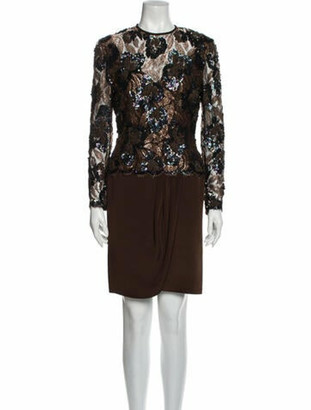 Joanna Mastroianni Silk Knee-Length Dress Brown