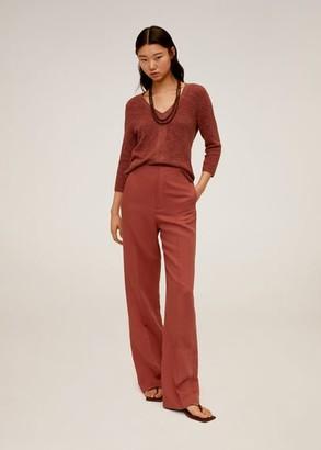 MANGO V-neckline sweater khaki - M - Women
