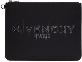 Givenchy Black and White Large Logo Zippered Pouch