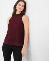White House Black Market Lace Mock Neck Top