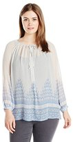 Lucky Brand Women's Plus-Size Chevron Peasant Top