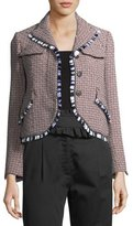 Carven Tweed Button-Front Jacket with Fringed Trim