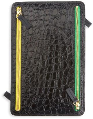 Royce New York 4-Zip Croc-Embossed Leather Travel Organizer