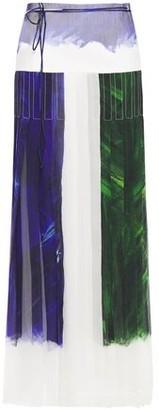Victoria Beckham Pleated Printed Crinkled Silk-chiffon Maxi Skirt