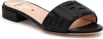 Fendi FF Embossed Logo Slide Sandal