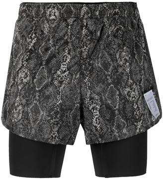 "Satisfy Distance 8"" snakeskin-effect shorts"