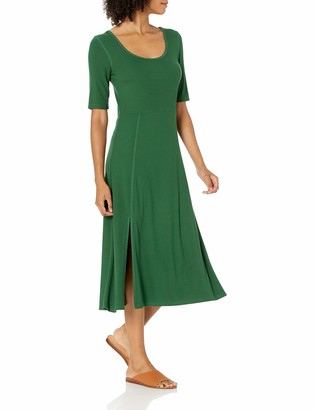 Daily Ritual Women's Standard Rayon Spandex Fine Rib A-Line Scoop Neck Dress with Vent