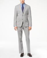 Kenneth Cole Reaction Men's Ready Flex Light Gray Tonal Check Slim-Fit Suit