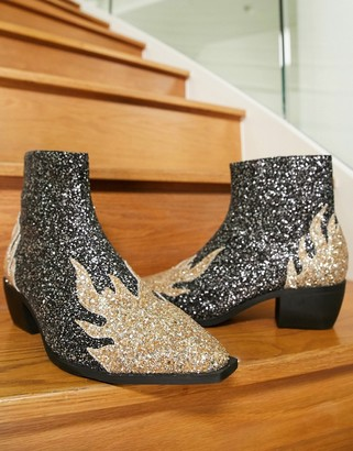 ASOS DESIGN cuban heel western chelsea boots in glitter with flame detail