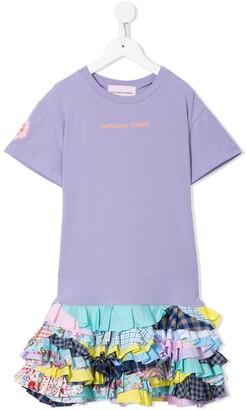 Natasha Zinko Kids patchwork ruffled-hem T-shirt dress
