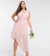 TFNC Bridesmaid Plus midi wrap frilly dress