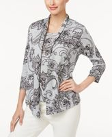 Alfred Dunner Petite Paisley-Print Layered-Look Necklace Top