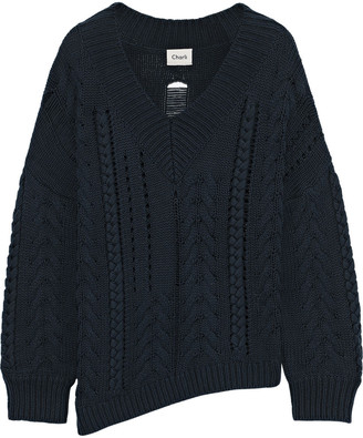 Charli Distressed Cable-knit Cotton Sweater