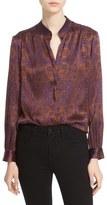 L'Agence Medallion Print Silk Blouse