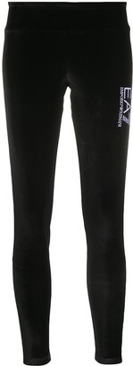 EA7 Emporio Armani Embroidered Logo Velvet Leggings