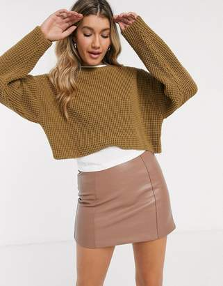 New Look waffle knit crop sweater in camel-Tan