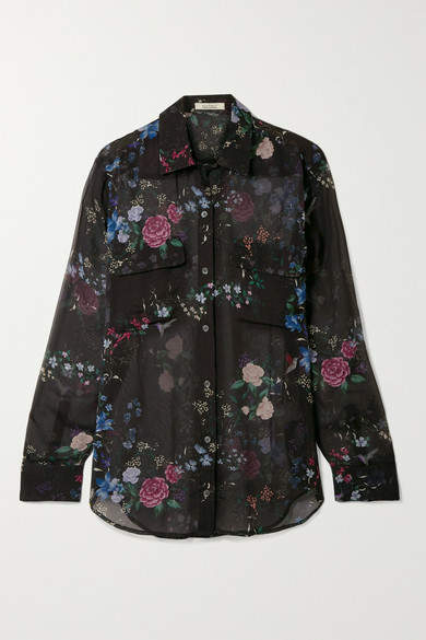 Equipment + Tabitha Simmons Signature Floral-print Silk-chiffon Shirt - Black