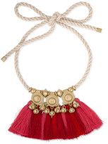 Rachel Roy Gold-Tone Corded Tassel Statement Necklace