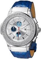 JBW Silvertone & Blue Saxon Chronograph Watch - Men