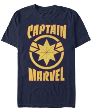 Marvel Men's Captain Retro Captain Emblem Short Sleeve T-Shirt