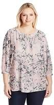 NYDJ Women's Plus Size 3/4 Sleeve Henley Pleat Back Blouse