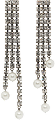 Christopher Kane Gunmetal Crystal Cupchain Pearl Earrings
