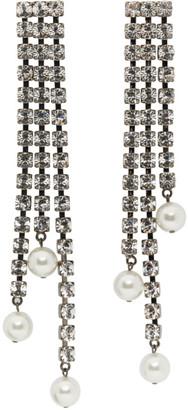 Christopher Kane Gunmetal Crystal Cupchain Pearl Earrings