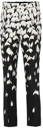 Valentino floral wool and silk crepe pants