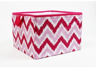 Bacati MixNMatch Pink Zigzag Cotton Percale Fabric covered Storage, Large Box, 14 x 14 x 10 inches