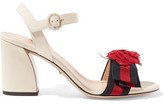 Gucci Appliquéd Grosgrain-trimmed Leather Sandals - Neutral