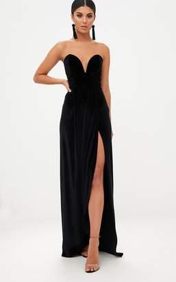 PrettyLittleThing Black Velvet Draped Wrap Detail Bandeau Maxi Dress