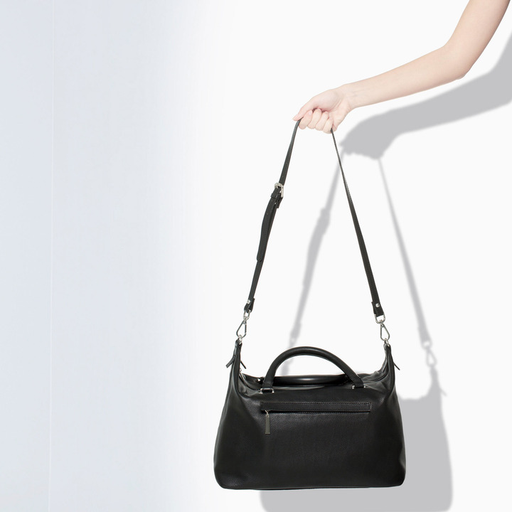 Zara Leather Bowling Bag With Zipped Pocket