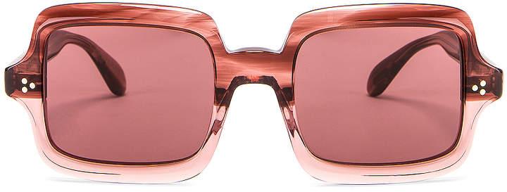 Oliver Peoples Aviri Square Sunglasses in Rose & Damson | FWRD