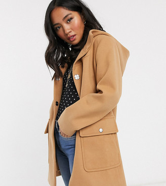 Asos DESIGN Petite hooded slim coat in camel-Beige